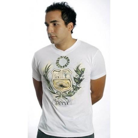 "T-Shirt Cuello V motivo ""Escudo Peruano"" Blanco en algodón peruano Pima Bravho / Perú"