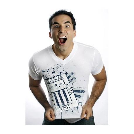"""T-Shirt Col V motif """"Alianza Lima"""" Blanc en coton péruvien Pima Bravho / Pérou"""