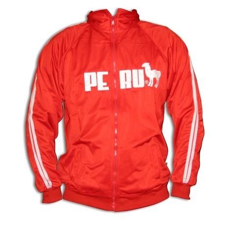 Casaca Deportiva Roja con logo Perú y Llama Cuy Arts / Perú