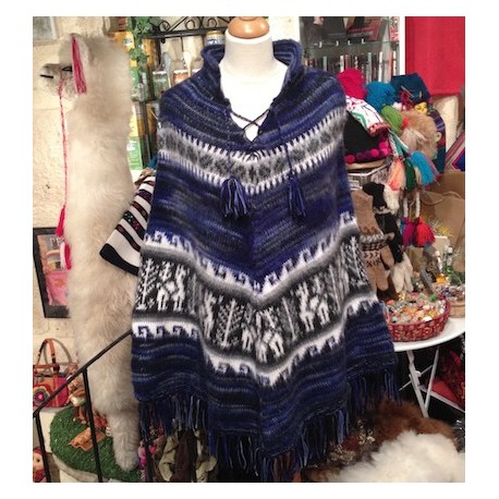 Poncho péruvien Bleu 100% Alpaga - Création Artisanale / Pérou