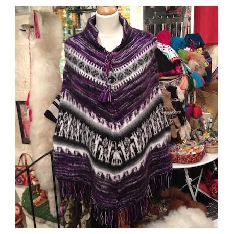 Poncho péruvien Violet 100% Alpaga - Création Artisanale / Pérou