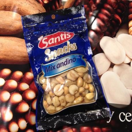 Mix Andino Maïs Cancha, Mote et Fêves grillées et salées pour l'apéritif Santis 100g