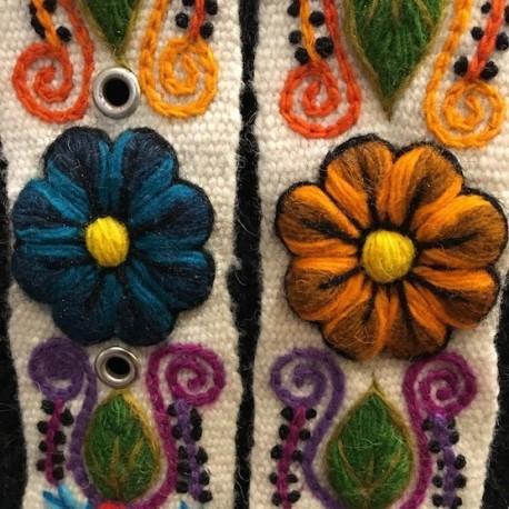 "Ceinture ""Blanco"" Péruvienne brodée en laine de Huancayo - Pérou"