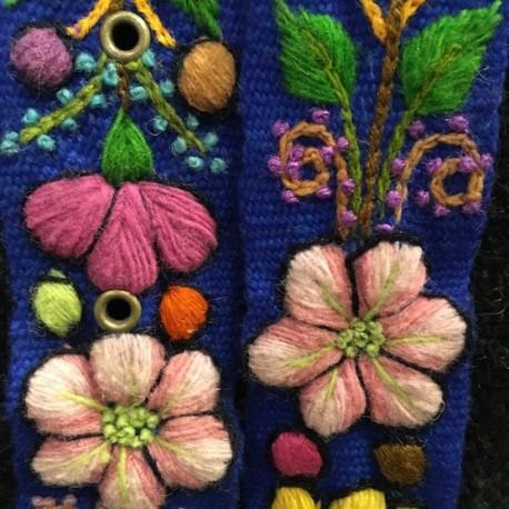 """Ceinture """"Azul"""" Péruvienne brodée en laine de Huancayo - Pérou"""