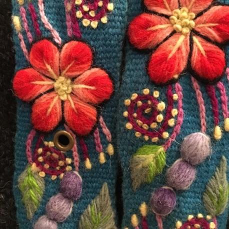 """Ceinture """"Celeste"""" Péruvienne brodée en laine de Huancayo - Pérou"""