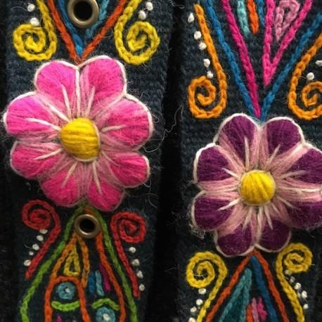 """Ceinture """"Esmeralda"""" Péruvienne brodée en laine de Huancayo - Pérou"""