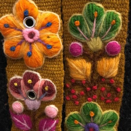 "Ceinture ""Kaki"" Péruvienne brodée en laine de Huancayo - Pérou"