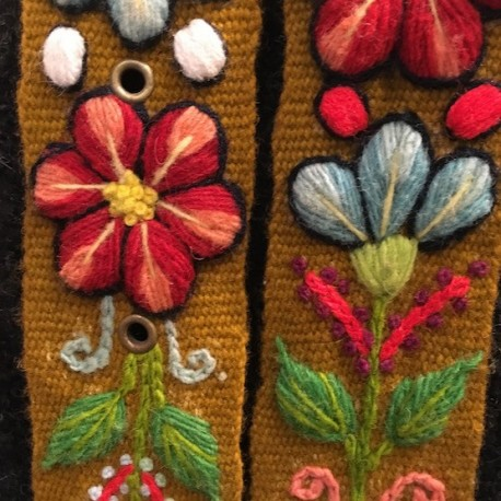 "Ceinture ""Marron"" Péruvienne brodée en laine de Huancayo - Pérou"
