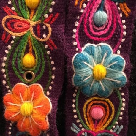 """Ceinture """"Morado"""" Péruvienne brodée en laine de Huancayo - Pérou"""
