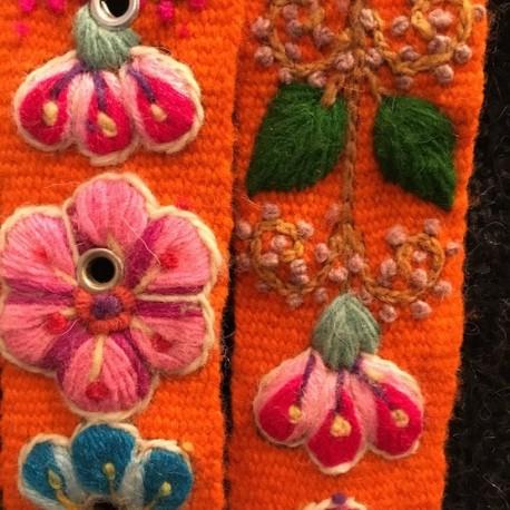 """Ceinture """"Naranja"""" Péruvienne brodée en laine de Huancayo - Pérou"""