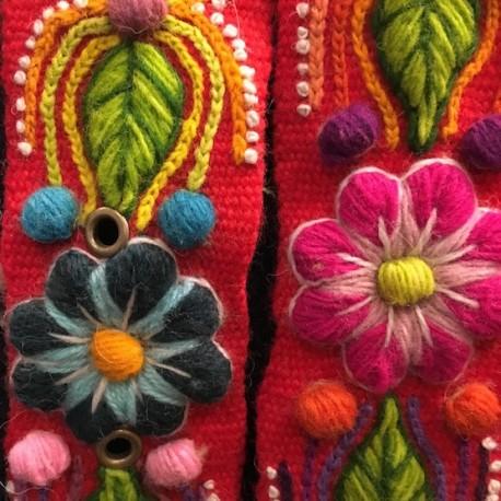 """Ceinture """"Rojo Claro"""" Péruvienne brodée en laine de Huancayo - Pérou"""
