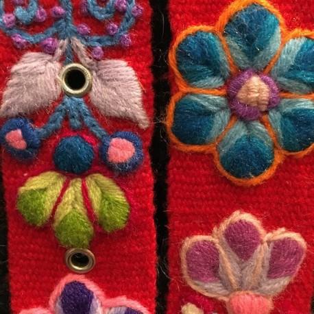 "Ceinture ""Rojo"" Péruvienne brodée en laine de Huancayo - Pérou"