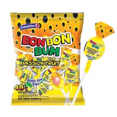 Sucettes Bon Bon Bum rondes au coeur de chewing gum (Fruit de la Passion) Colombina / Colombie 24 sucettes