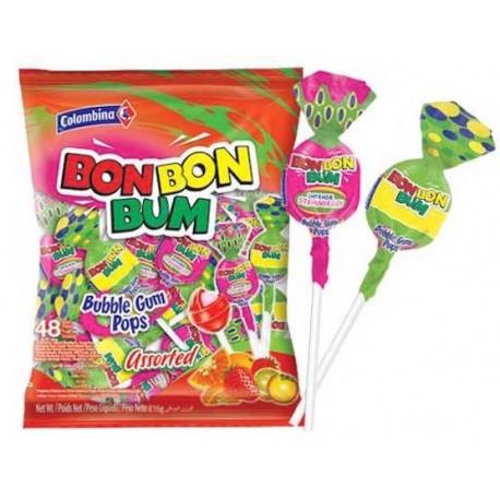 Sucettes Bon Bon Bum rondes au coeur de chewing gum (assortiment) Colombina / Colombie 24 sucettes