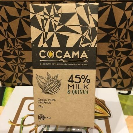Chocolat au Lait à la Quinoa 45% Cocama 70g