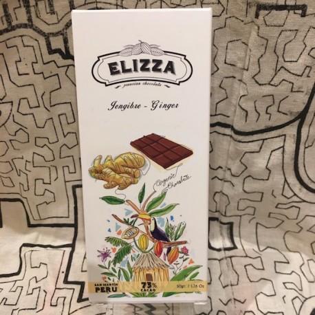 Chocolate Negro Bitter con Gengibre 73% Elizza 50g