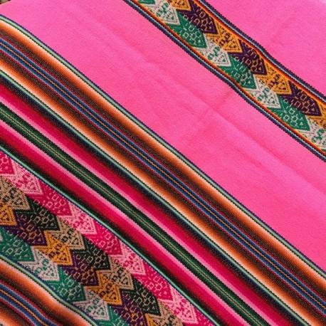 Tissu Rose Macha Lliclla (Aguayo) péruvien / Pérou