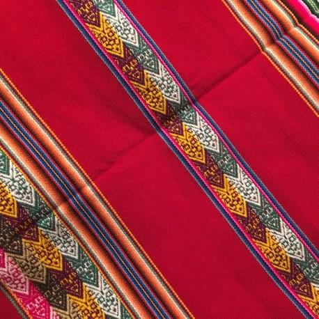 Tissu Macha Péruvien Roge (Environ 110x120cm)