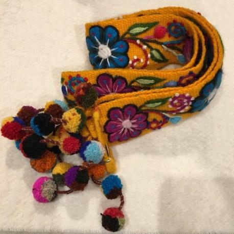 """Ceinture """"Amarillo"""" Péruvienne brodée en laine de Huancayo - Titi Guiulfo"""