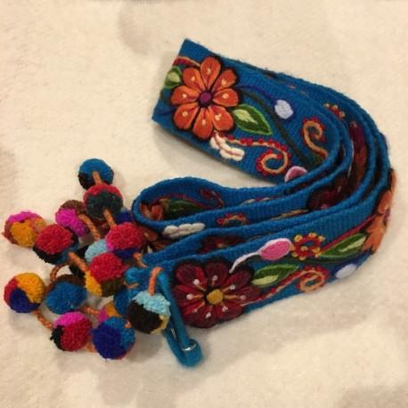 """Ceinture """"Celeste"""" Péruvienne brodée en laine de Huancayo - Titi Guiulfo"""