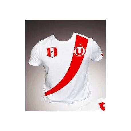 "T-Shirt Col rond motif ""La Franja"" Blanc en coton péruvien"