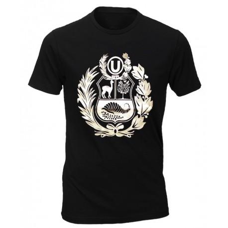 "T-Shirt Cuello redondo motivo ""Escudo Peruano"" Negro en algodón peruano"