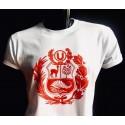 "T-Shirt Col rond motif ""Blason péruvien"" Blanc en coton péruvien"