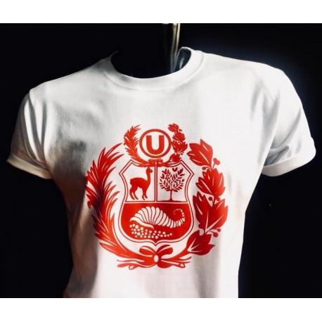 "T-Shirt Cuello redondo motivo ""Escudo Peruano"" Blanco en algodón peruano"