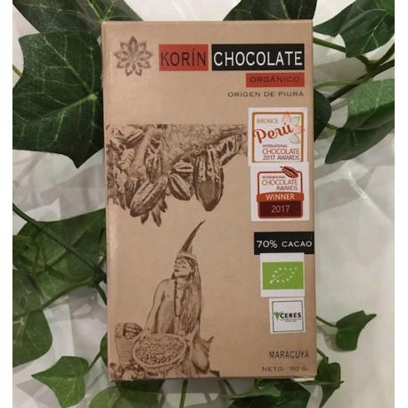 Chocolat Noir Bitter au Fruit de la Passion 70% Korin 60g