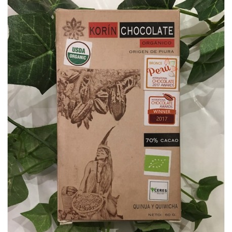 Chocolat Noir Bitter au Quinoa et Amarante 70% Korin 60g