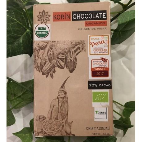 Chocolat Noir Bitter au Chia et Sésame 70% Korin 60g